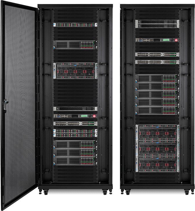 Example colocation deployments in a server rack. 1U, 2U, 4U, 24U, and 48U spaces available.