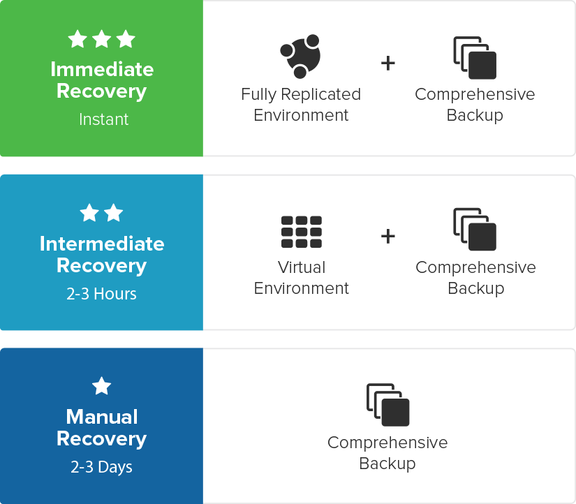 Immediate Recovery includes a fully replicated environment and a comprehensive backup that is instantly available. Intermediate Recovery includes a virtually replicated environment and a comprehensive backup that takes 2-3 hours to become available. Manual recovery includes a comprehensive backup and takes 2-3 Days to become available.